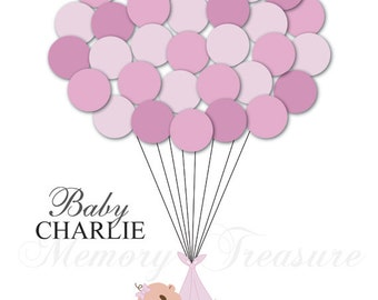 Baby Shower Guestbook Alternative Guest Sign In Ideas Blanket Balloons Poster Print Personalized Unique DIGITAL FILE ONLY