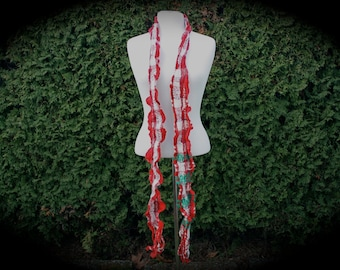 Remembrance R01, an Everyday Scarf in reds, whites and greens