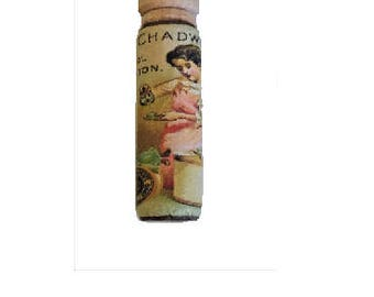 Wood Sewing Needle Case with Vintage Ad - Chadwicks