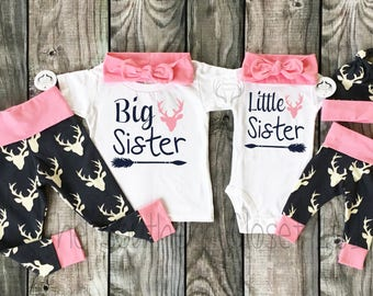 Big Sister Little Sister Outfits,Girl Coming Home Outfit Set,Sibling Sets,Sibling Outfits,Country Outfits,Sister,Pink,Girls Deer Outfits,