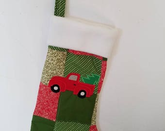 Quilted Christmas Stocking with Truck Applique.