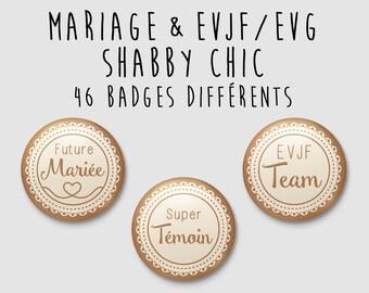 Badge wedding Shabby Chic / country - individually