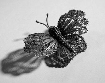 Antique Silver Filigree Moth Brooch