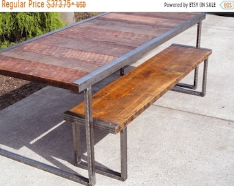 Limited Time Sale 10% OFF Authentic Industrial Dining Table, Antique Old Barn Wood, Raw Steel Edge, Rectangular Hammered Steel Legs, Customi