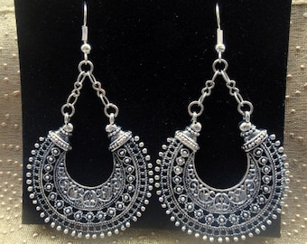 Silver ethnic tribal earrings, Gypsy earrings, Silver round hoop ethnic earrings, Ornate hoop earrings, Boho silver earrings