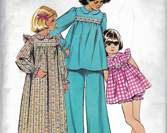 Vintage 1973 Simplicity 5999 Girls' Pajamas & Nightgown Sewing Pattern Size 6 Breast 25""