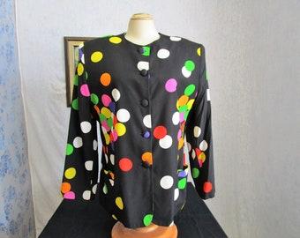 80s-90s 16 XL Alliage Rayon Big Shoulders Blouse Jacket Black Polka Dot