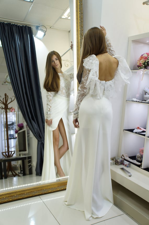 Rustikale Hochzeit Boho Stil Hochzeitskleid / Madeira