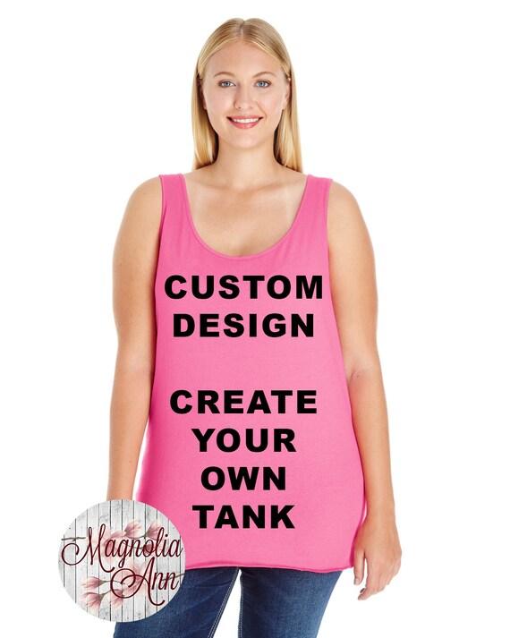 Custom Design, Create Your Own Design, Womens Premium Jersey Tank Top, Size Small-4X, Plus Size Clothing, Plus Size Tank, Plus Size T Shirt
