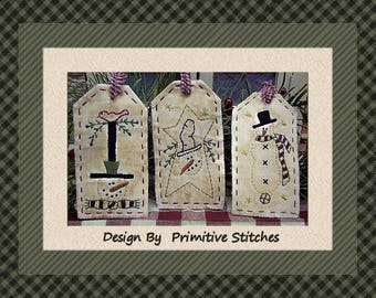 Snowman Tag Collection 2-Primitive Stitchery  E-PATTERN by Primitive Stitches-Instant Download