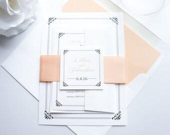 Peach Wedding Invitation, Peach and Gray Wedding Invitations, Pink, Elegant Wedding Invitation, Formal Wedding Invite - SAMPLE SET