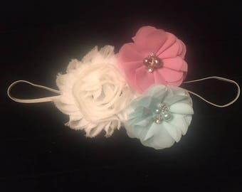 Baby Girl's Headband - Ivory Mint Mauve Girl's Headband - Little Girl's Headband