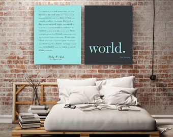 Personalized song lyrics print Lyrics wall art Wonderful World Song lyrics poster Music art Gifts for music lover Custom lyrics print Canvas