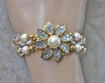 Wedding Bracelet, Hand Strung, Vintage Earring, Flower Power, Pearl, Gold, Magnetic clasp, Reclaimed, Jennifer Jones, OOAK- A Thousand Stars