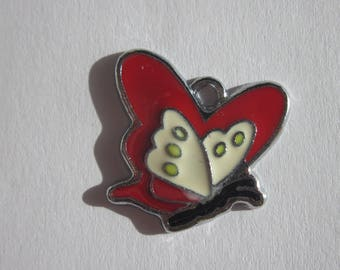 charm Butterfly-shaped colorful metal 2 cm large (105)