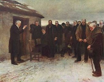 "James Guthrie 1882 Oil Painting ""A Highland Funeral"" Vintage Classic Artwork 1930 Portraits Book Print Scene"