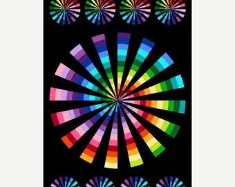 20% off thru Apr 24th Colorworks Northcott Fabric panel  cotton quilt fabric PINWHEEL rainbow colors on black 21586-99
