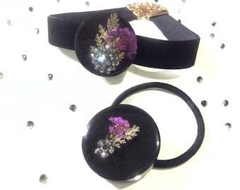 Ponytail Holder/Choker Necklace Set, Real Flowers, Pressed Flowers, Floral Jewelry Set, Black Velvet Choker, Ponytail Elastic Tie