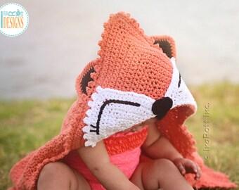 CROCHET PATTERN Foxy the Fox Hooded Blanket Crochet PDF Pattern with Instant Download