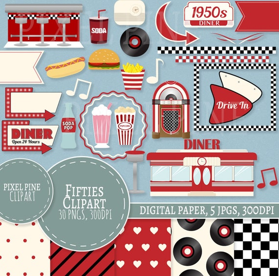 1950s clipart set red diner 30 pngs 5 1950s digital paper rh etsy com dinner clipart dinner clip art images