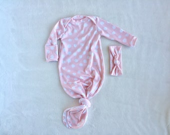 Pink and white polka dot knotted Baby gown - size 0-3 months
