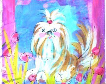 Your Dog Original Painting Fun Abstract Style From Photo Custom Made YelliKelli