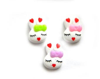5 Assorted Rabbit Resin Flatbacks - Resin Cabochons