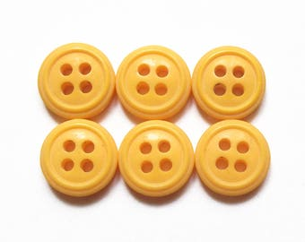 6 sunshine yellow round buttons 12 mm
