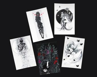 Inktober drawing postcard set - 5 cards - Greeting card - Illustration - Olevus Art