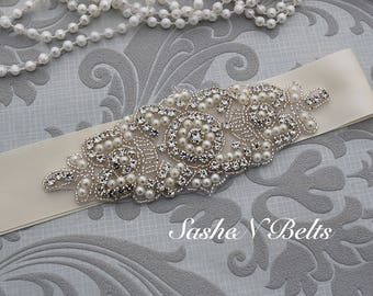 Bridal belt, cream wedding belt, cream belt sash, bridesmaid belt, wedding belt, crystal rhinestone belt, dress belt