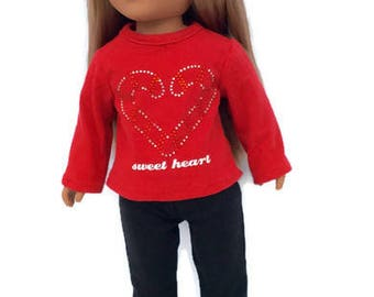 18 Inch Doll Clothes, Red Candy Cane Shirt and Black Leggings, Christmas Doll Clothes