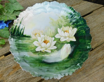 Vintage Hand Painted Decorative Plate - Water Lilies