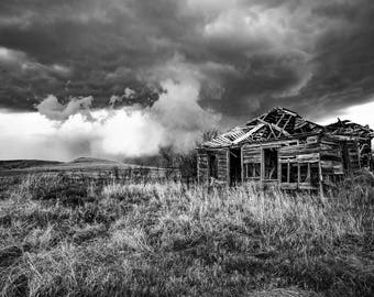Black and White Photography Art Print - Picture of Old Abandoned House and Passing Storm On Kansas Prairie Vintage Style Decor 4x6 to 30x45
