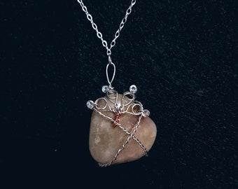 Wire Wrapped Beach Agate Necklace