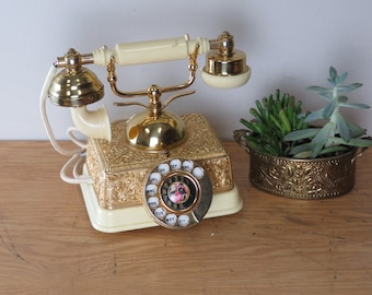 Vintage French Style Gold & Beige Color Rotary Telephone