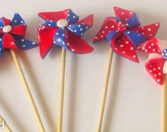 Pinwheel cake topper, pinwheels, fondant balloons, fondant cake toppers, cakes with pinwheels, Pinwheel cake, pinwheel party, Patriotic