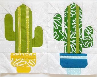 Cuddly Cactus Paper piecing pattern - Quilt block pattern