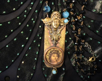 Soldered Goddess necklace with Czech cut crystal beads