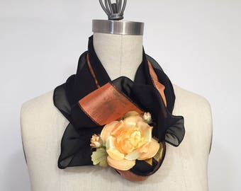 Black And Orange Infinity Scarf, Silk Chiffon Scarf,Circle Scarf, Loop Scarf, Dupioni Silk