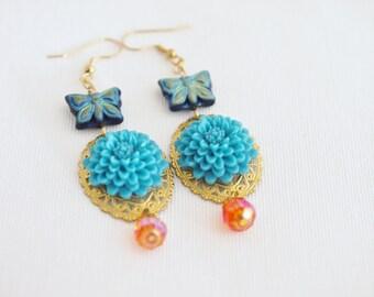 blue butterfly earrings, blue dahlia earrings, gypsy jewelry, day of the dead earrings, blue chandelier