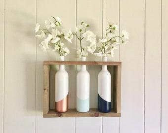 Wine Bottle Vases with Wooden Shelf