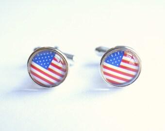 American Flag Cuff Links Mens Cuff Links Groomsmen Cuff Links