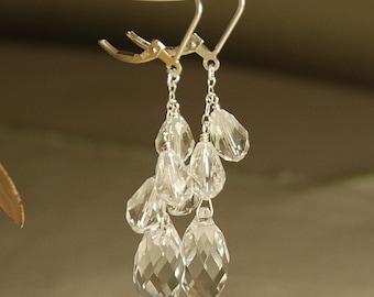 Long Crystal Earrings, Clear Crystal Bridal Earrings, Swarovski Clear Crystal Dangle Earrings in Sterling Silver, Clear Chandelier Earring