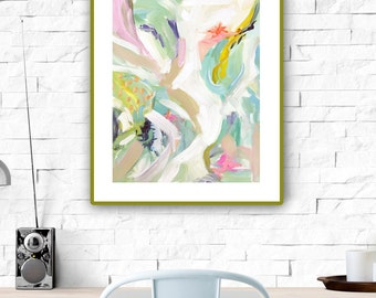 Modern Art Print , Abstract Print, 5x5 to 24x24, pink, lime, aqua, marendevineart