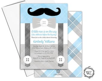 little man baby shower invitation, cute gray and blue baby shower invites boy, mustache suspenders - PRINTED - WLP00771