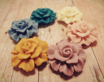 SALE 12PCS -27.5mm Two Layer Ruffle Lace Rose  -CMVision Exclusive-Ivory, Light Coral Pink, Vintage Pink, Tangerine, Cornflower Blue, Teal