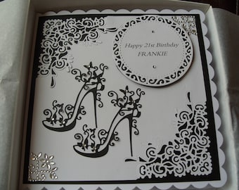 Handmade Personalised 18th OR 21st Birthday Card Boxed