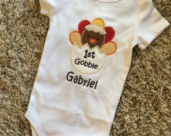 Appliqué First Gobble Onesie - Perfect for Thanksgiving - Everyday wear - Customizable