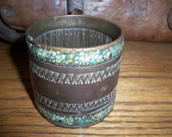 Vintage Handmade Copper and Turquoise Stone Cup Middle Eastern