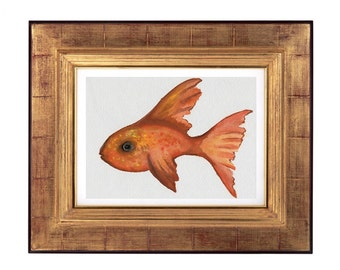 Goldfish Painting Print, Watercolour Goldfish  Print, Goldfish Gift, Bathroom Decor, Goldfish Decor, Printable Goldfish Art